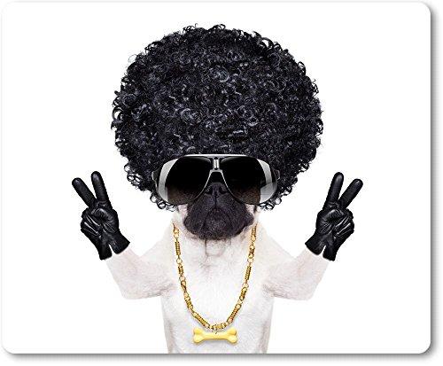 Mauspad / Mouse Pad aus Textil mit Rückseite aus Kautschuk rutschfest für alle Maustypen Motiv: Mops mit Afrofrisur, Sonnenbrille und Goldkettchen macht das Victory-Zeichen | 12 -