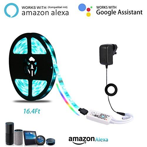 LED Strip Licht,LANMU LED Streifen kompatibel mit Alexa,5m LED Bänder Leisten Handy gesteuert Lichtleisten mit Controller und Netzteil für Google Home,IFTTT perfekt für Küche/Wohnzimmer Dekoration