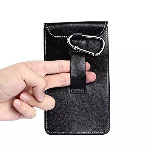 Universal PU Leder Outdoor Bergsteigen Handy Gürteltasche mit Karabinerhaken für 5,5 Zoll ( Color : Brown ) Black