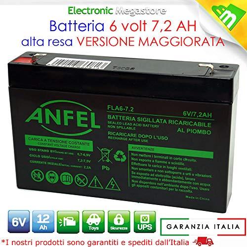 Batteria Ermetica AGM al piombo 6V 7Ah 7,2Ah per Peg Perego, Bruder, Feber, ToysToys, Injus