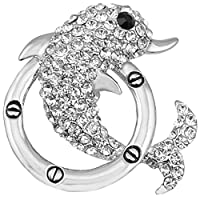 FENGJI Rhinestone Brooches for Women Lovely Dolphin Wedding Coat Decoration Crystal Brooch Pins Silver