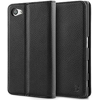 BEZ® Hülle für Sony Xperia Z5 Compact Tasche, Schutzhülle Kompatibel für Sony Xperia Z5 Compact Hülle, Handyhülle Taschenhülle mit Kreditkartenhaltern, Geldbeutel, Magnetverschluss - Schwarz