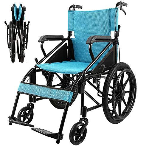 HPDOSHP Leichtrollstuhl, faltbar Transportrollstühle, Rollstühle mit Selbstantrieb gepolsterte Rückenlehne und Armlehnen, Sitz 46 cm