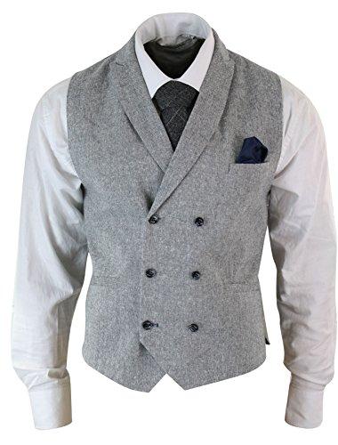 Mens Vintage Peaky Blinders Double Breasted Waistcoat Tweed Check Smart Casual