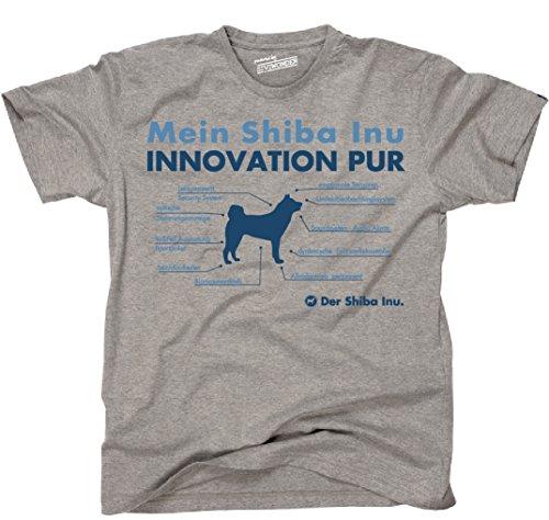 Siviwonder Unisex T-Shirt INNOVATION SHIBA INU TEILE LISTE Hunde lustig fun Sports Grey