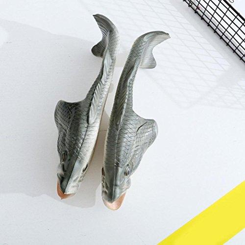 Vovotrade Pantofole da doccia, Sandali pesci unisex creativi, Scarpe divertenti da spiaggia Argento