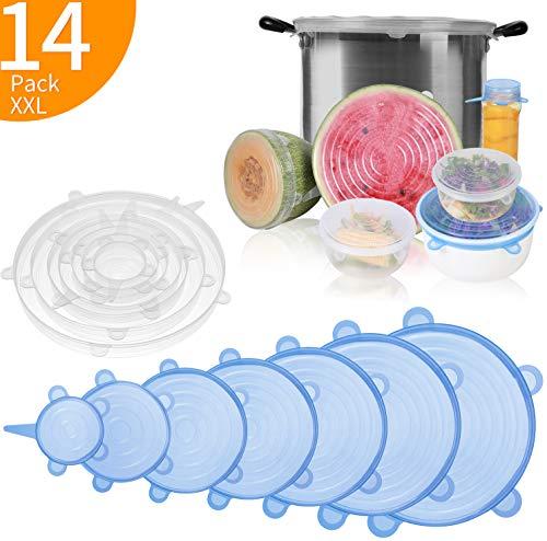 Eono by amazon - coperchi in silicone stretch, 14 pezzi di 7 diverse dimensioni coperchio silicone per alimenti, riutilizzabile ed espandibile coperchio per tazza per pentole e freezer - bpa free
