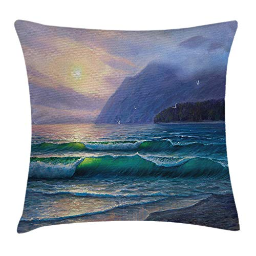 Nature Throw Pillow Cushion Cover, Ocean Waves in The Morning an Sun Sky Above Mountain Foggy Horizon Surreal Scenery, Decorative Square Accent Pillow Case, 18 X 18 Inches, Lilac Teal