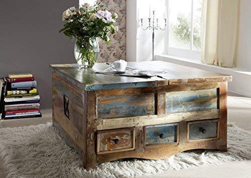 Table basse coffre 100x100cm - Bois massif recyclé multicolore laqué - Inspiration Ethnique - SPIRIT #62