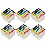 ZR-Printing Ersatz für Espon T0711 T0712 T0713 T0714 Druckerpatronen Hohe Kapazität Kompatibel mit für Epson Stylus SX105 SX210 SX218 SX400 DX4000 DX4400 DX6000 DX6050 DX8450 BX300F (12schwarz, 6gelb, 6cyan, 6magenta)