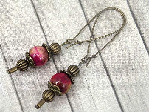 Vintage Ohrringe in Bronze und weißer Jade rot gebeizt (Jade Rot)