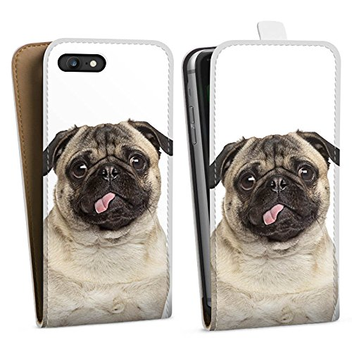 Apple iPhone 8 Plus Silikon Hülle Case Schutzhülle Mops Welpe Hund Downflip Tasche weiß