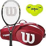 Wilson Hyper Hammer 5.3besaitet Schläger, Gebündelt mit Einer Tennis Tasche, 3-Pack - Red Team III, 4 1/8