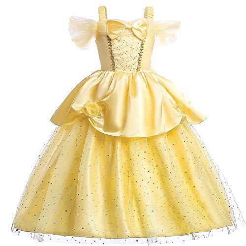 Pettigirl Niñas Princesa Dorada Belleza Traje Mágico Fantasía Vestir 6 años