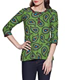 Green Indian Printed 3-Button Women's Cotton Top - Unique Fashions for Women - Artisan Made in India