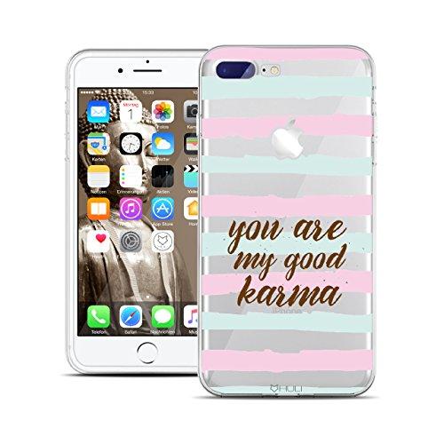 HULI Design Case Hülle für Apple iPhone 7 Plus Smartphone im Karma Design - Handy Schutzhülle aus Silikon- Handyhülle transparent mit Print - Yoga Spirit Motto Buddha Good Vibes