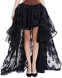 KUOSE Damen Victorian Abendkleider Chiffon Steampunk Rock Schwarz Übergrößen S-6XL