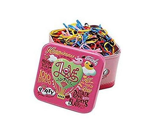 1caja/700pcs desechables Multi Candy Color elástico goma bandas Tpu pelo coleta soporte bandas de pelo gomas para el pelo con diseño de caja de lata para bebé niñas niños y adultos