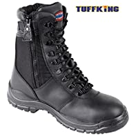 Black Zip Up High Leg Steel Toe Work Safety Boots 9108 Tuffking Boot UK4-13