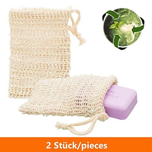 ECENCE 2X Sisal Seifenbeutel Seifensäckchen Set Bio Natur Seifennetz plastikfreie Produkte nachhaltig für unsere Umwelt 23020202