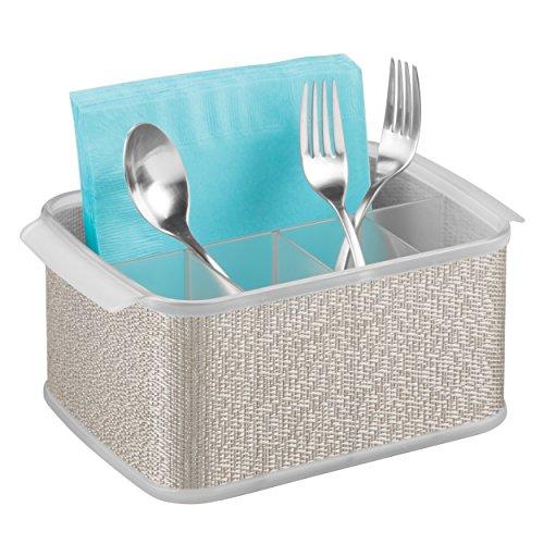 mDesign Silverware, Flatware Caddy Organizer for Kitchen Countertop Storage, Dining Table - Metallic/Clear