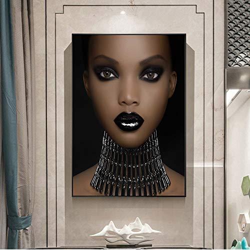 RTCKF Niña Africana Arte Pared Chica Maquillaje Lienzo