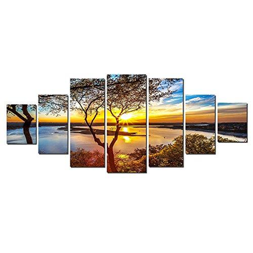 Startonight, nachleuchtendes Leinwandbild, Riesige Wandkunst, Sonnenaufgang über dem See, Gesamt Größe - 240 cm x 100 cm.