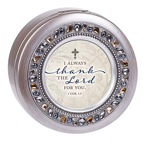 Cottage Garden Musikbox mit Aufschrift Thank The Lord for You, gebürstetes Zinn, rund, mit Schmucksteinen, Grau (Musik-schmuck-box Für Mama)