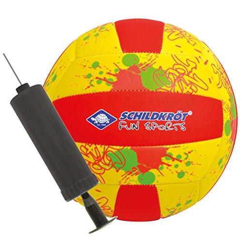 Schildkröt Neopren Beach-Volleyball, Ø21cm, Normale Größe 5, Incl. Mini-Pumpe, Gelb-Rot, Griffige Textile Oberfläche, salzwasserfest, Ideal für Stand & Garten, 970286