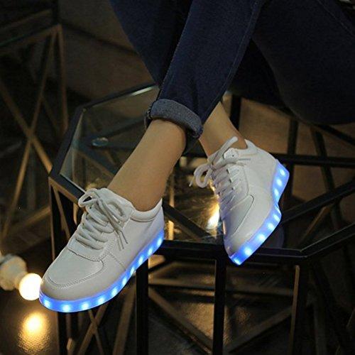 [Present:kleines Handtuch]JUNGLEST® Lackleder High-Top 7 Farbe LED Leuchtend Sport Schuhe Glow Sneakers USB Aufladen Turnschuhe für Unisex Herren Dam c32