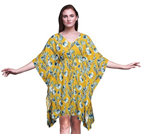 Bimba Blumen-Damen Plus Size Kaftan Sommer-Abnutzung Strand Coverup Kimono Kaftan-4X-5X -