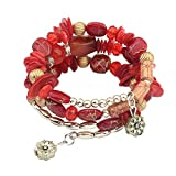 Haodou Bracelet Damen Mädchen Armband Perlen Armreif Mode Bracelet Armreifen Handgelenk Dekoration Kettenlänge 60cm (Rot)