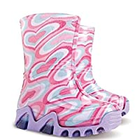 Childrens Wellington Boots Kids Rainy Wellies Shoes UK All Sizes - Big Hearts Pink (UK 10-11 (EU 28-29) Youth)