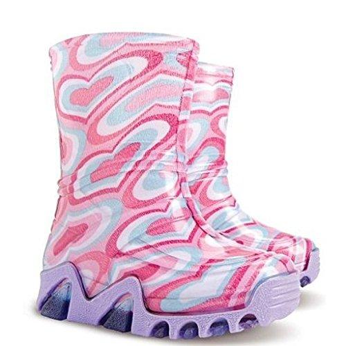 Enfants de Wellington Bottes pour enfants Bottes de pluie Chaussures Royaume-Uni toutes les tailles–Big Motif cœurs Rose Big Hearts Pink UK 10-11 (EU 28-29) Youth