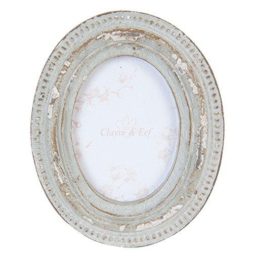 Clayre & Eef 2F0376 Bilderrahmen Fotorahmen oval natur ca. 6 x 7 cm
