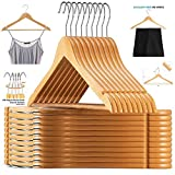 TradeVast Wooden Hangers use for Hanging Your Pants, Skirts, Trousers and All Kinds of Clothes- Black Clip (Beige, 24)