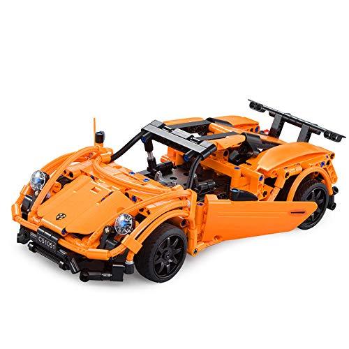 Hadishi Fernbedienung Auto, rc Sport Rennwagen Modell Kits DIY bausteine   Spielzeug Autos Spielzeug für Kinder kompatibles Spielzeug für Jungen Ziegel - Modell Auto Spielzeug Kit Sport