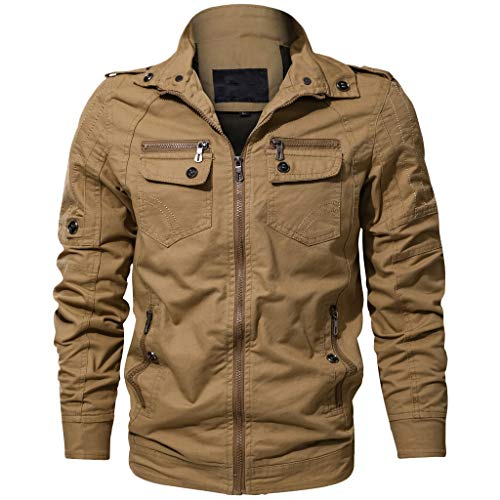 Bomberjacke Fashion Herren Herbst Winter Vintage Zipper Solide Stehkragen Langarm Peacoat Coat