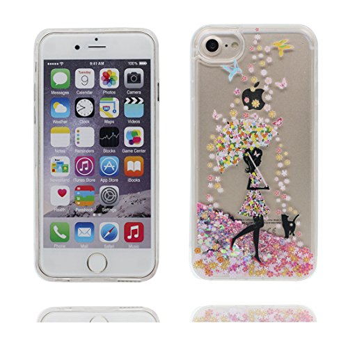 "iPhone 6 Plus Hülle, iPhone 6S Plus Handyhülle Cover 5.5"", Liquid Fließendes Glitzer Bling Bling Floating sparkles, iPhone 6 Plus Case 5.5"", Shell Anti-Beulen Pferd # 4"