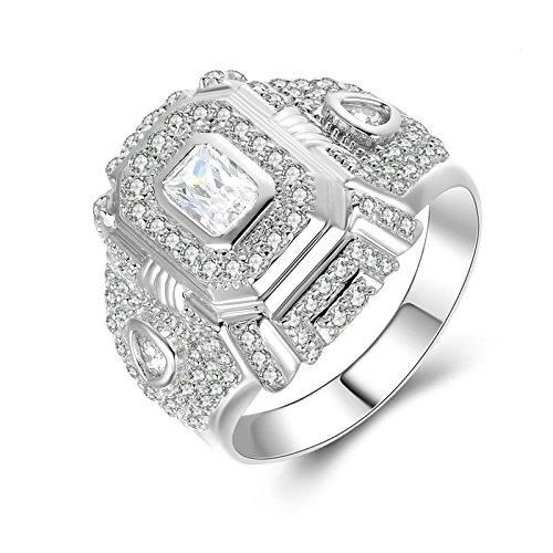 (Custom Ringe)Adisaer Ring 925 Sterling Silber Damen Cluster Kristall Platz Zirkonia Verlobungsring Größe 58 (18.5) Kostenlos Gravur
