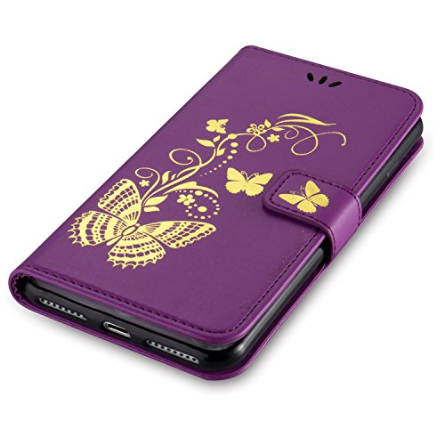 JIALUN-Telefon Fall Mit Card Slot, Lanyard, Druck Schöne Muster Mode Open Handy Shell Für IPhone7 Plus ( Color : Red , Size : IPhone 7 Plus ) Purple