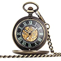 UNIQUEBELLA Pocket watch-Mechanical-Automatic-Unisex-Vintage-Alloy Chain-C4 F228-Bronze