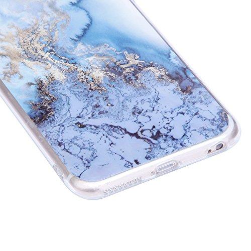 iPhone 6S Plus Hülle,iPhone 6 Plus Hülle,iPhone 6S Plus/6 Plus Silikon Hülle Tasche Handyhülle,SainCat Flamingos Flamingos Muster Ultra dünne Silikon Hülle Schutzhülle Durchsichtig Hadytasche Stoßfest Blaues Meer Marmor