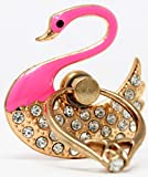 Indian Petals Diamond RhineStone Studded Swan Design 360 Degree Rotating Multi-purpose Metal Mobile Ring Holder Stand For iPhone iPad Apple Samsung LG Motorola HTC mobiles, Anti-Theft Protection (Pink)