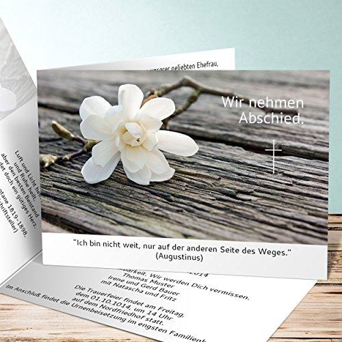 Einladungskarten zur Trauerfeier, Magnolie 40 Karten, Horizontale Klappkarte 148x105 inkl. weiße Umschläge, Weiß