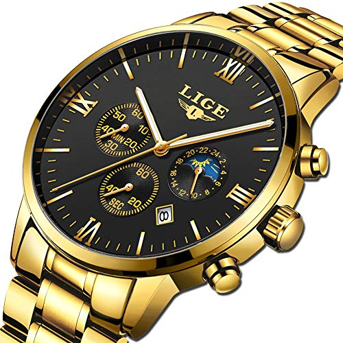 LIGE Herren Uhren Männer Militär Edelstahl Gold Schwarz Wasserdicht Chronograph Armbanduhr Mann Elegant Datum Kalender Sport Dress Quarz Uhr (Gold-analog-herren-uhr)