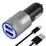 MMOBIEL Juego de Cargador de automóvil/Coche con Cable USB y 2 Puertos USB (Adaptador + Micro USB Negro)