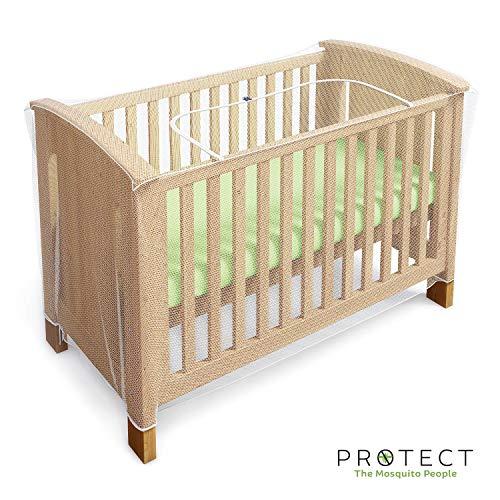 Moskito und Insektennetz für Babybetten, Kinderbetten und Reisebetten - mit Reißverschluss für schnellen und einfachen Zugang zu Ihrem Baby (von Protect)