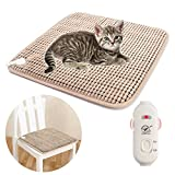 AKINO Heizmatte für Katzen und kleine Hunde Haustiere,24W Wärmematte Weich Haustier Heizkissen mit Überhitzungsschutz 7 Temperatur Einstellbar (45cm×45cm)