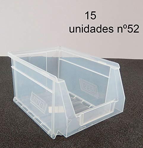 Gaveta apilable 52 Transparente. Lote de 15 unidades